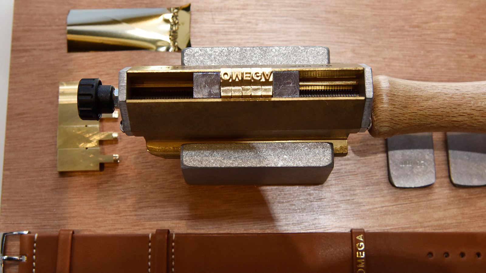 Stamping leather nato strap with the name OMEGA