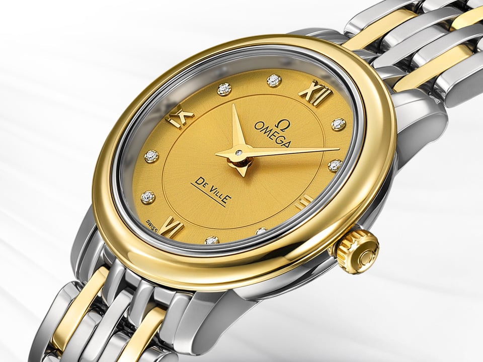 Thin Prestige watch for ladies in stainless steel and yellow gold