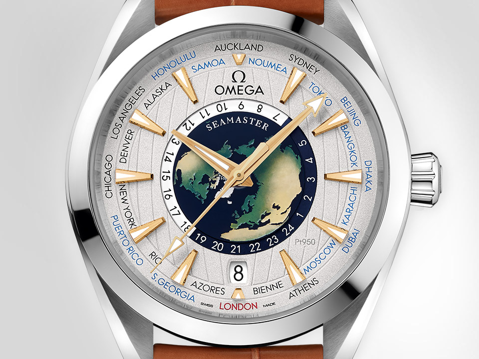 The Seamaster Aqua Terra Worldtimer Limited Edition, a complex design with its stainless steel case, leather band and truly unique dial composed of the name of cities around a representation of the earth.