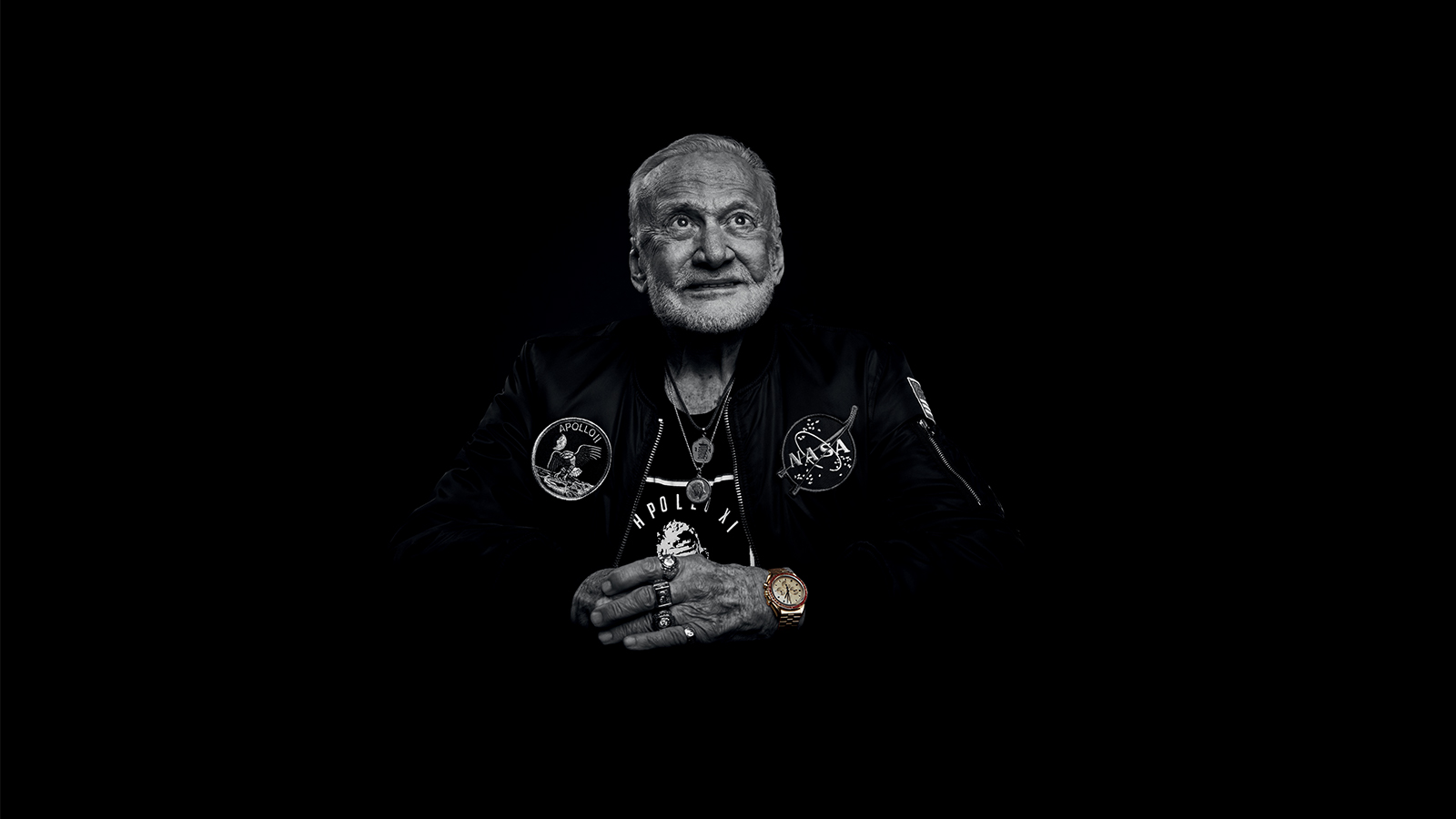 Buzz Aldrin wears Speedmaster Moonwatch 50th anniversary limited edition