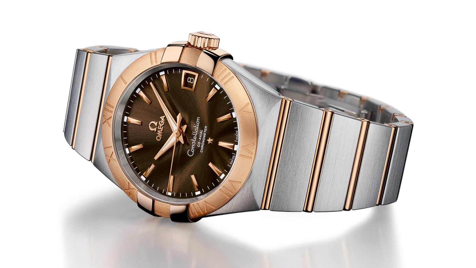 765287e0be3 Omega Constellation Watch for men in red gold and steel with a brown dial
