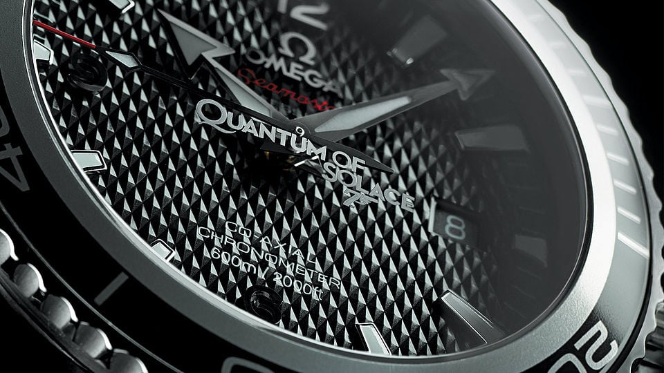 Close view of the Quantum of Solace watch, Seamaster co-axial chronometer 2000 ft