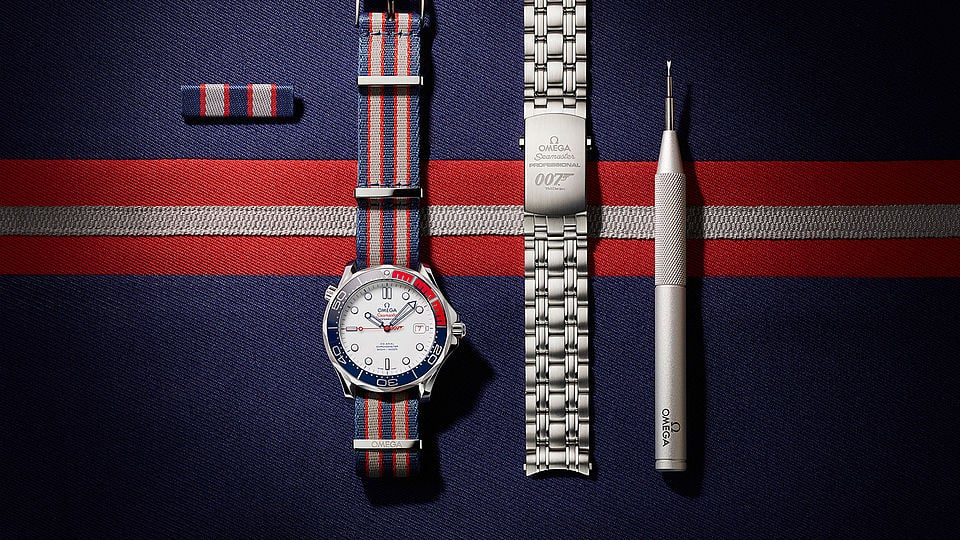 Omega Commander's Watch which salutes the ensign colours of the British Royal Navy with touches of white, blue and red