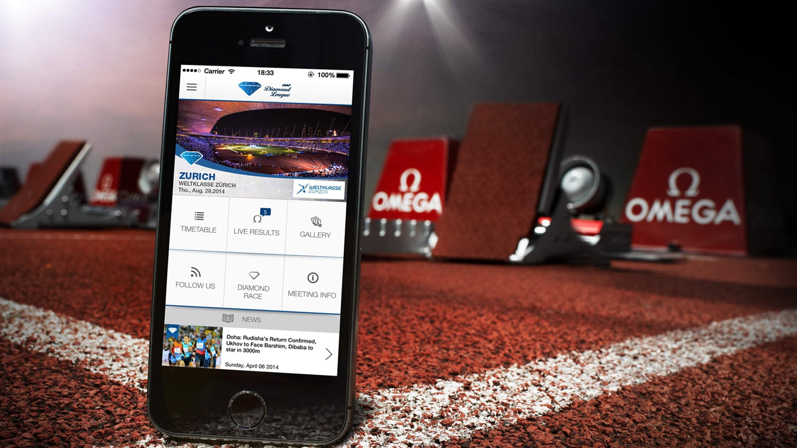 OMEGA's IAAF Diamond League mobile application
