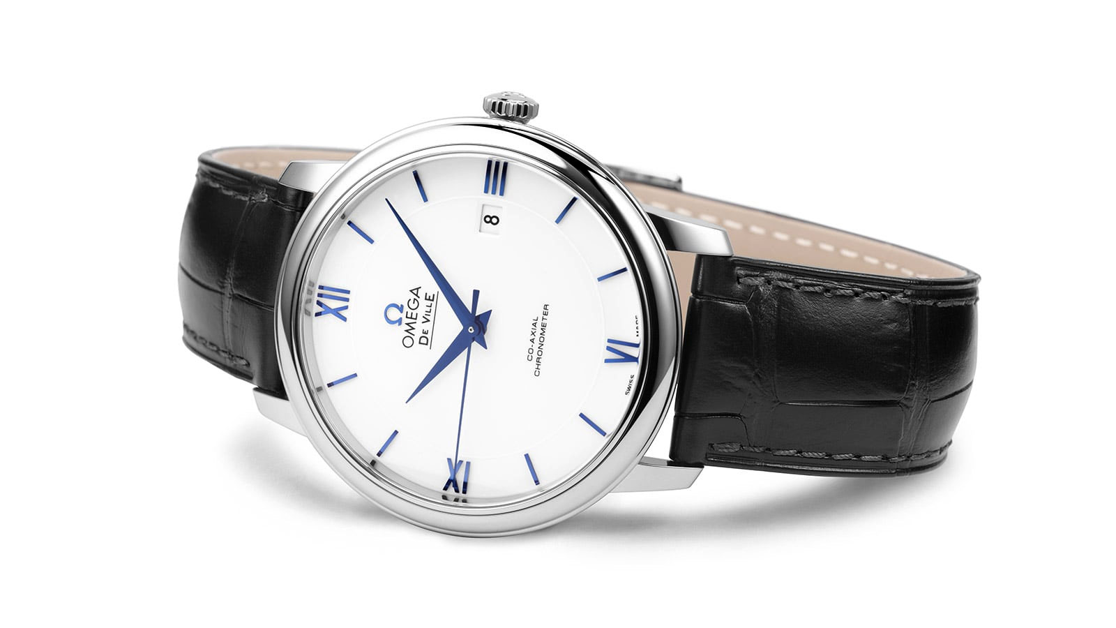 Classic De Ville Prestige men's watch with a simple white dial and black leather strap