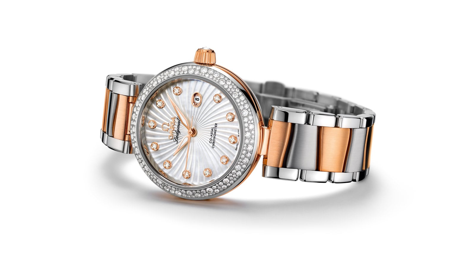 De Ville Ladymatic watch for ladies with a round stainless steel and rose gold case encrusted with diamonds