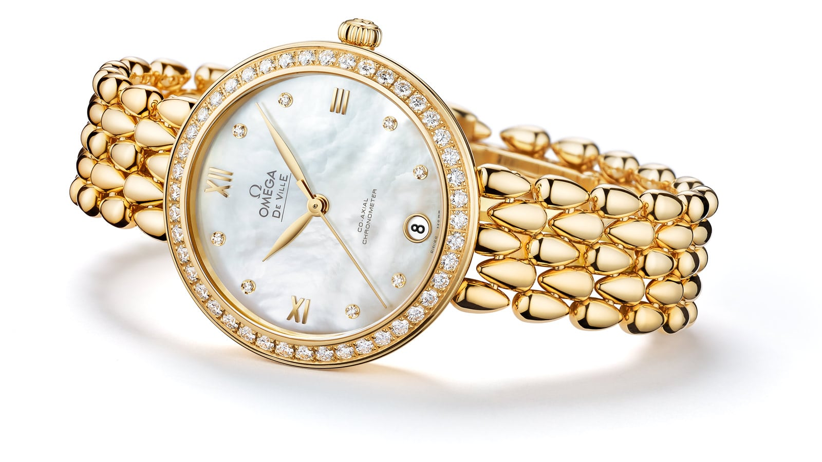 Gold watch with a diamond encrusted case and mother-of-pearl dial from the Prestige Dewdrop collection