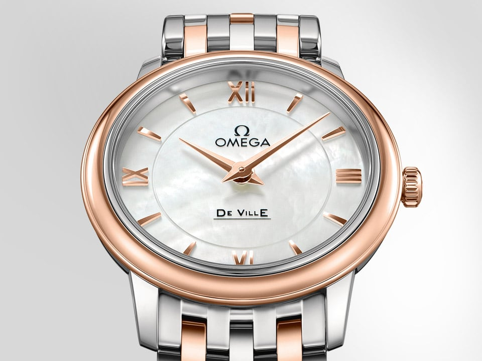 Round Prestige watch for ladies with a rose gold case and mother of pearl dial