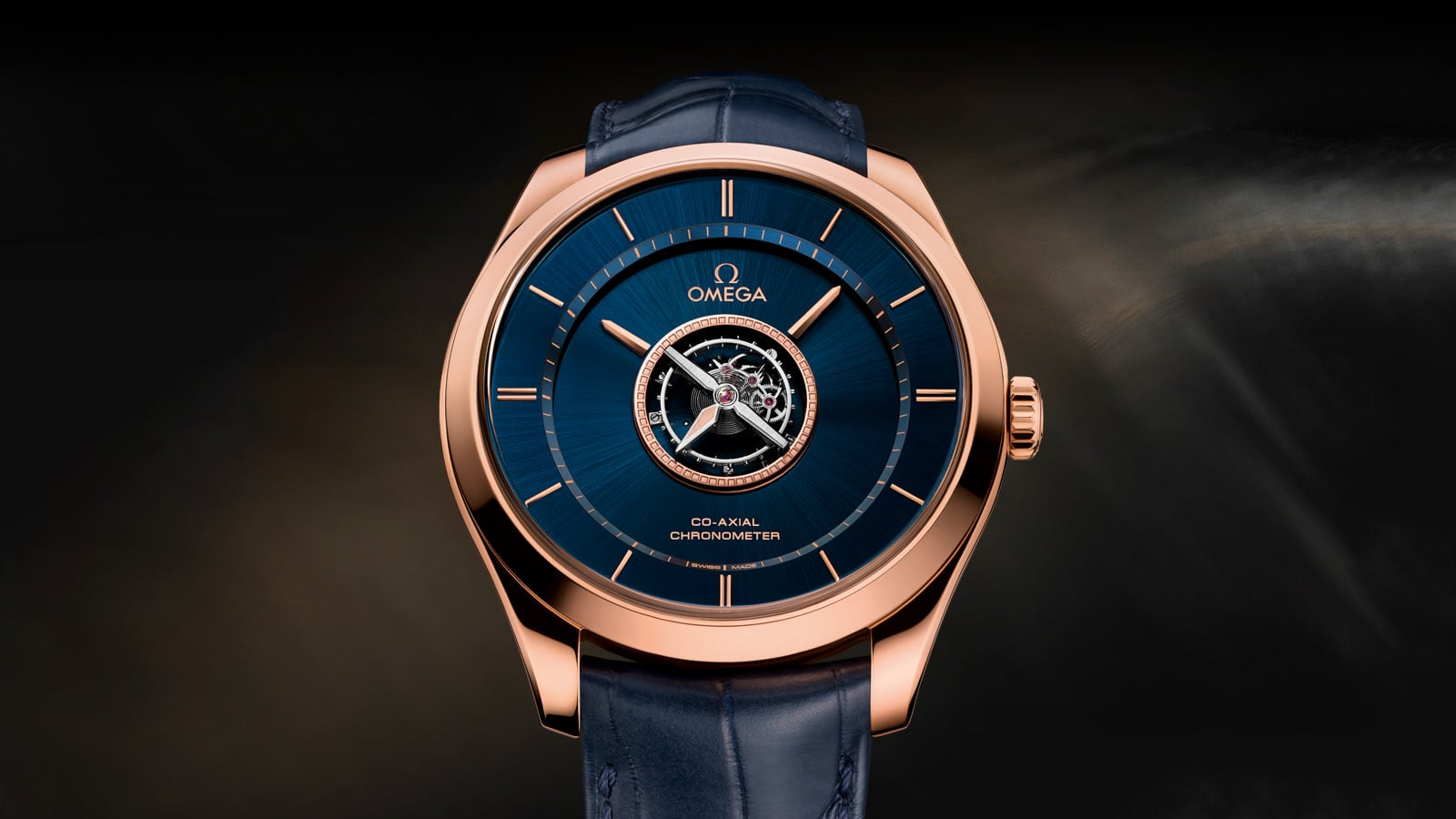 Front view of the blue Tourbillon watch with a visible mechanism