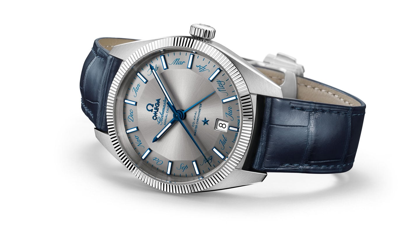 Globemaster Annual Calendar watch with a blue leather strap and stainless steel case