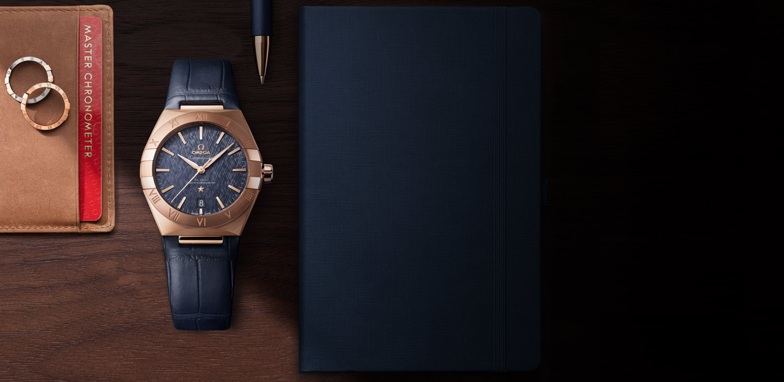 Constellation Gents' Collection - Sedna™ gold on leather strap - 13153392003001