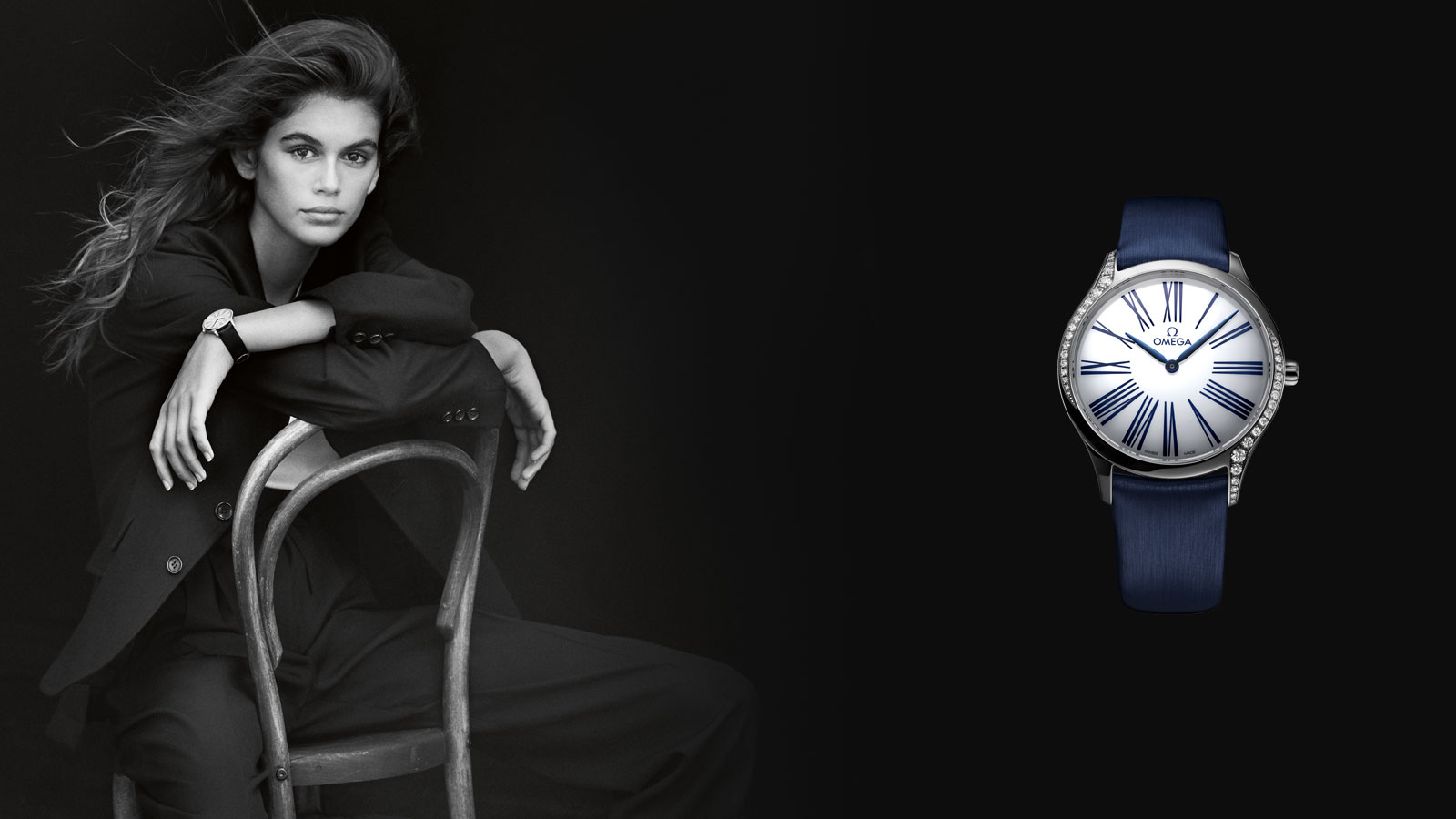 Black and white photo of Kaia Gerber and the De Ville Trésor watch