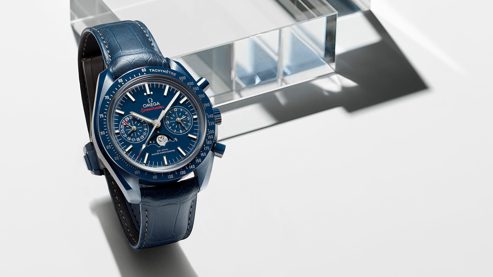 Omega Speedmaster Moonwatch in all blue with a leather strap