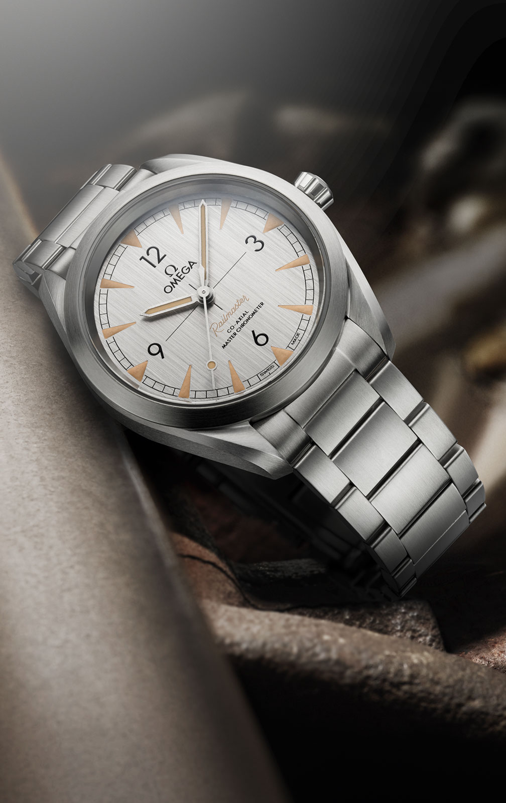 Omega Railmaster watch in stainless steel with a brushed steel dial