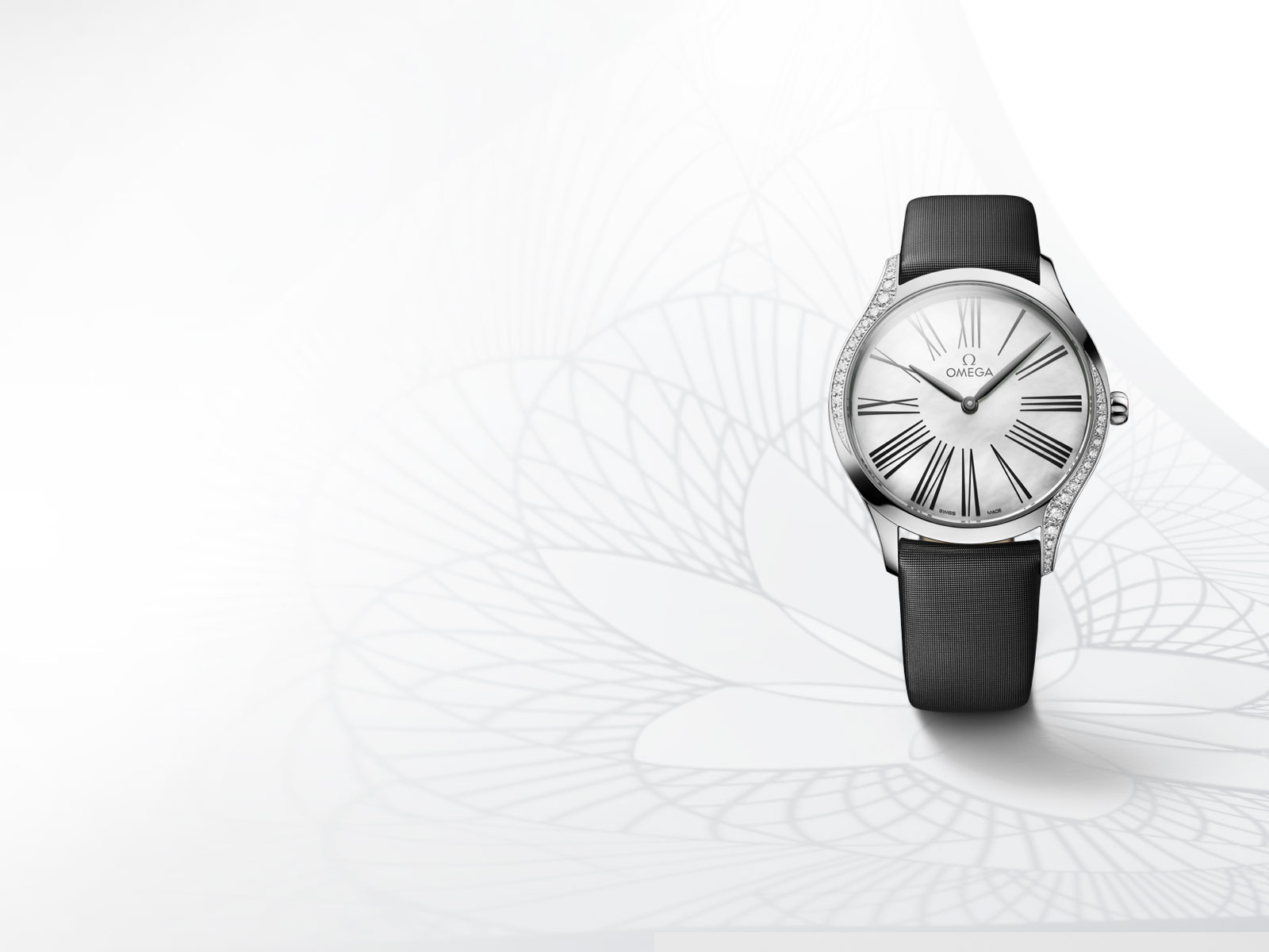 The De Ville Trésor watch in stainless steel with diamonds and black fabric strap