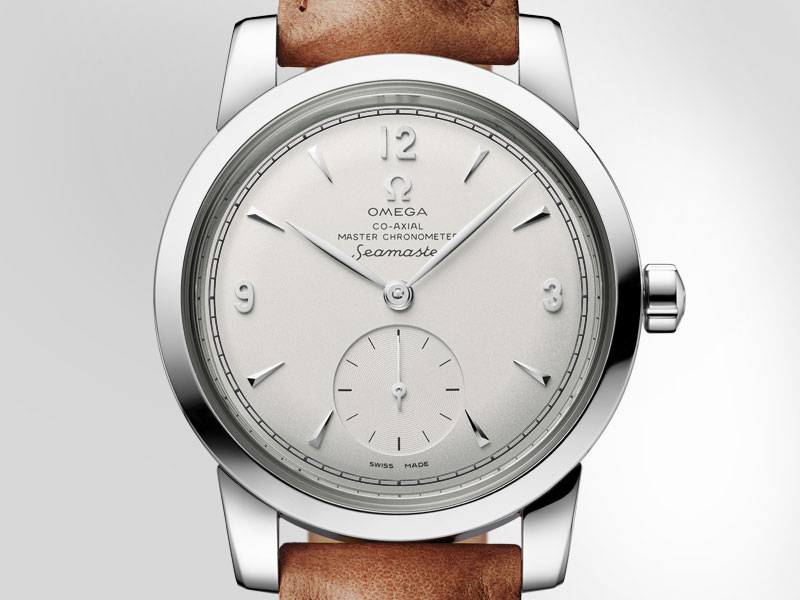 The Limited Edition Seamaster 1948 watch in stainless steel case and brown leather strap