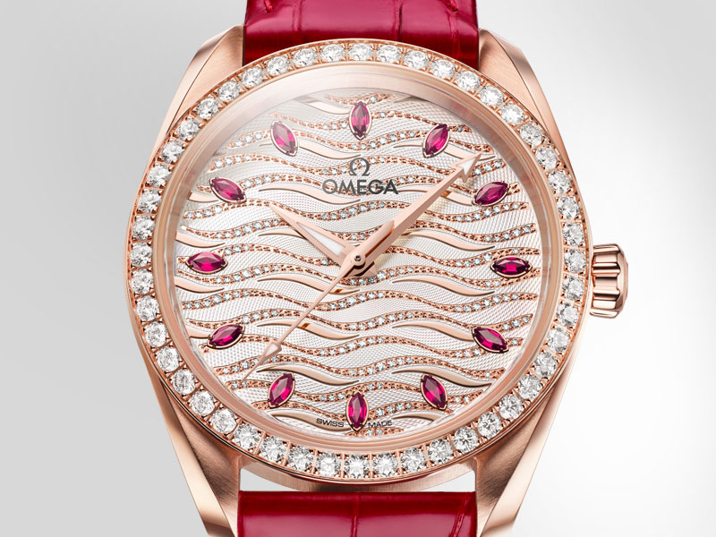 Seamaster Aqua Terra Jewellery watch with its diamonds encrusted bezel and ruby indexes