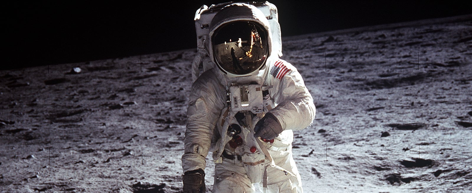 Picture of an astronaut walking on the moon