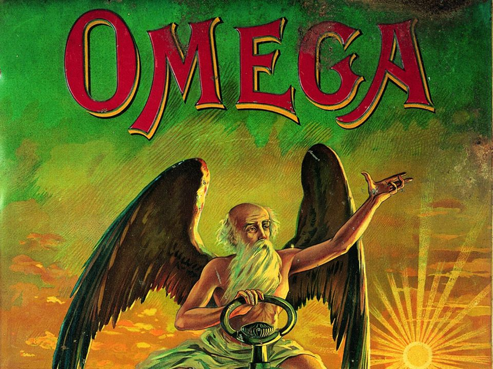 Vintage ad for Omega representing Chronos with wings, and the sun in background