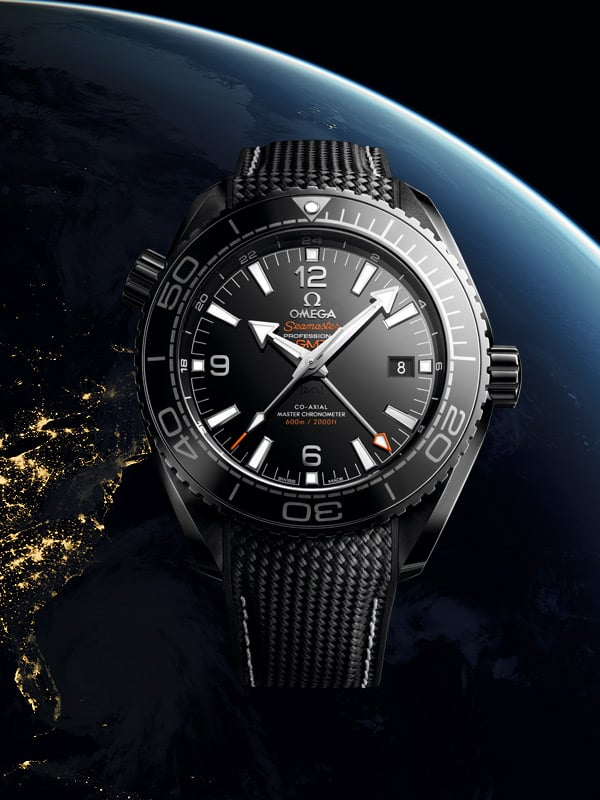 OMEGA Seamaster Planet Ocean diver's watch with a black bracelet