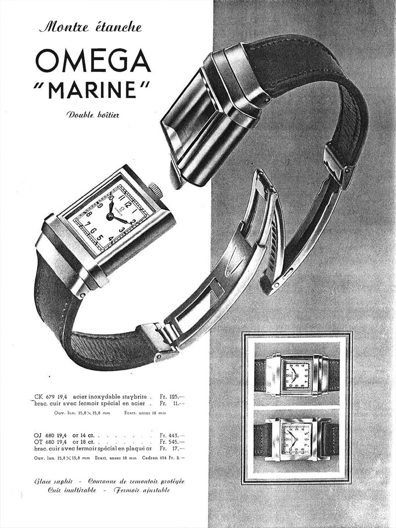 "Ad for the first commercially available divers' watch: Omega ""Marine"""
