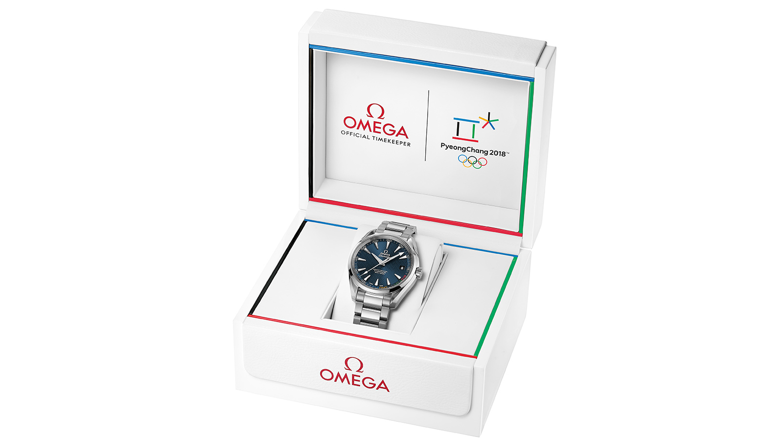Watch Omega OLYMPIC GAMES COLLECTION Pyeongchang 2018 Limited Edition steel on steel in a Winter Olympics themed box