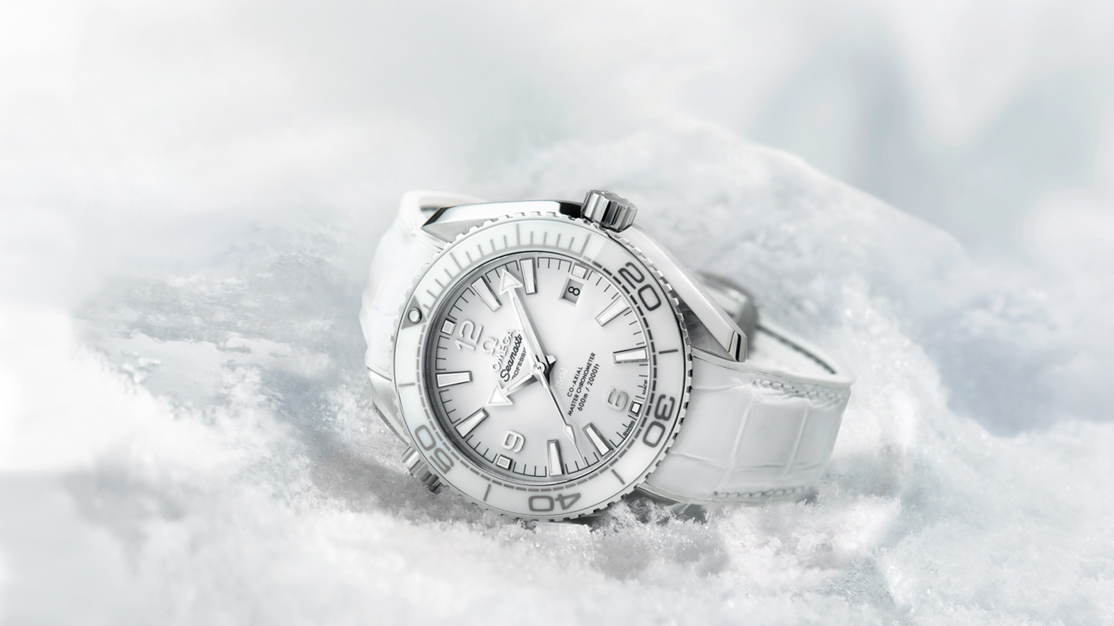 Watch Omega Seamaster PLANET OCEAN 600 white sunk in the snow