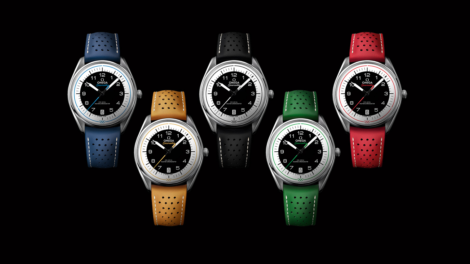Blue yellow black green and red models of the Omega SEAMASTER OLYMPIC GAMES LIMITED EDITION