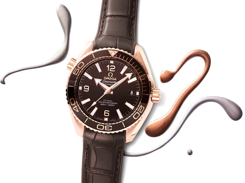 Omega Co-Axial Master Chronometer Planet Ocean 39.5 mm, Ladies' selection with brown case and bracelet