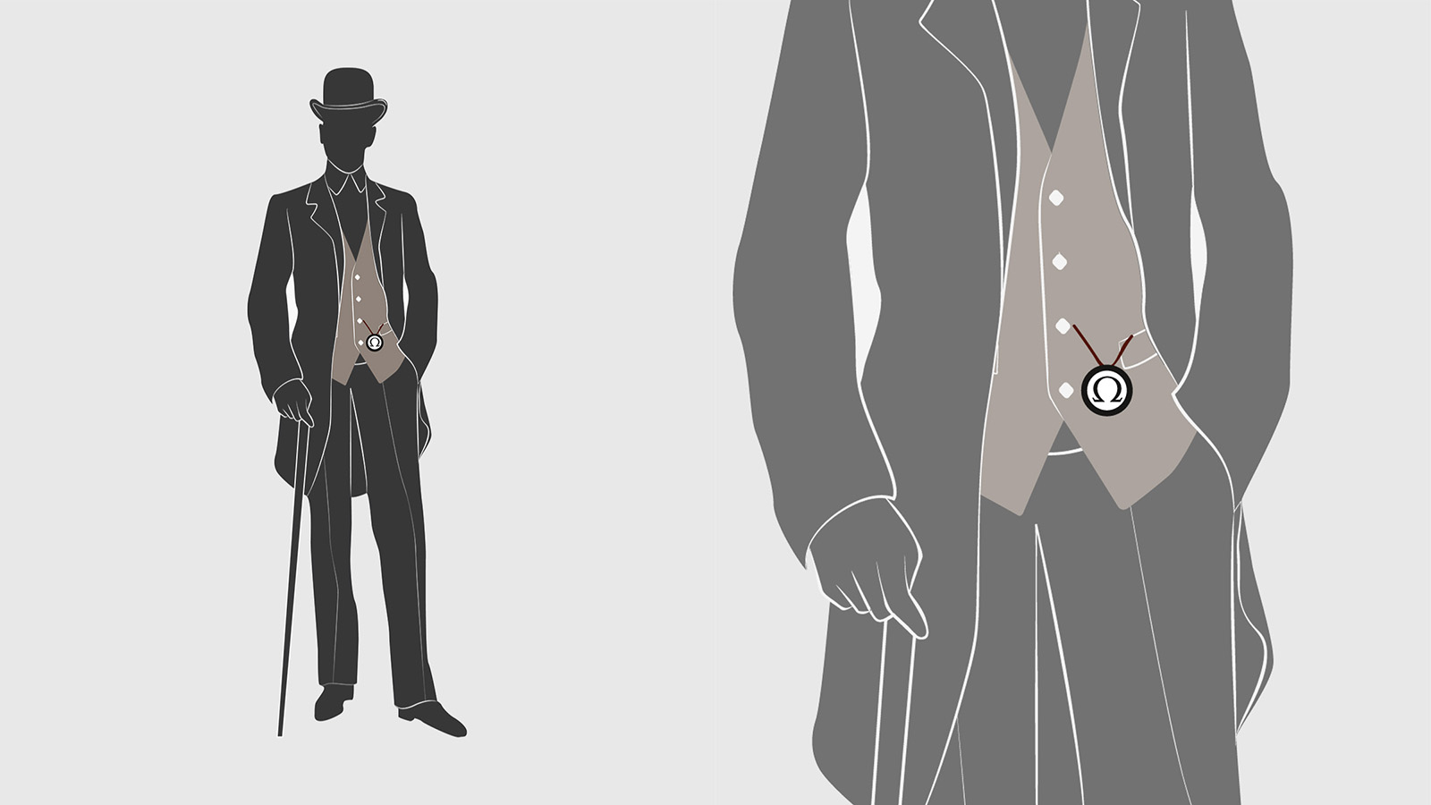How to wear a pocket watch : the single Albert with half drop