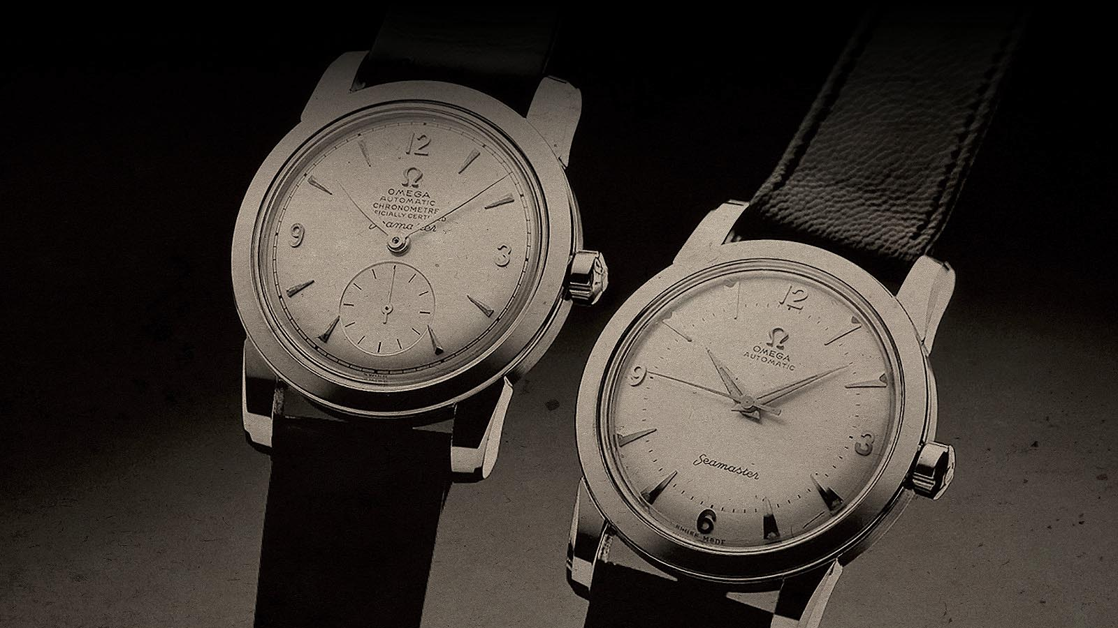 Vintage black and white photo of two original 1948 Seamaster watches