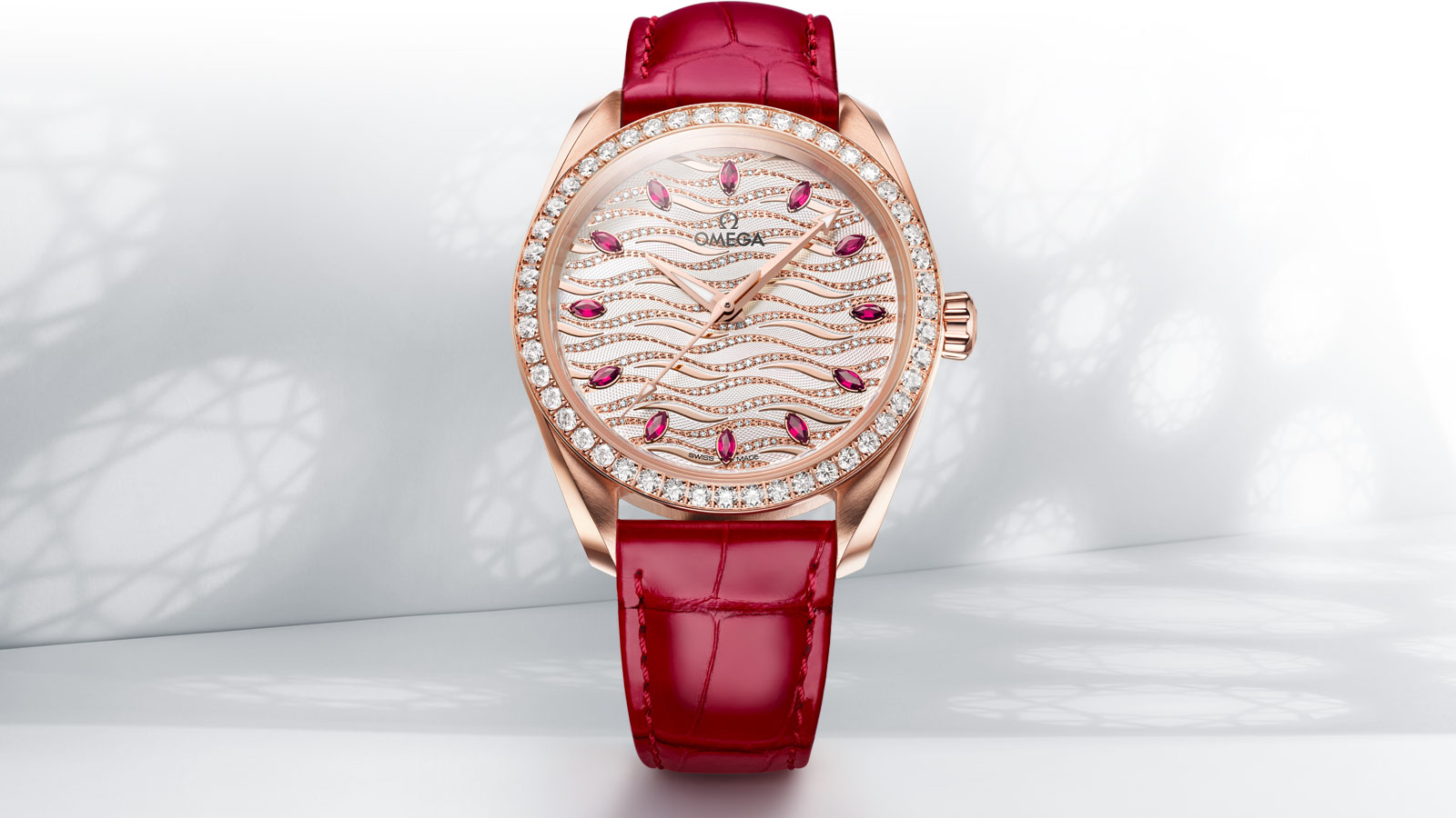 Front view of the Seamaster Aqua Terra Jewellery with its diamond encrusted bezel and 12 ruby indexes