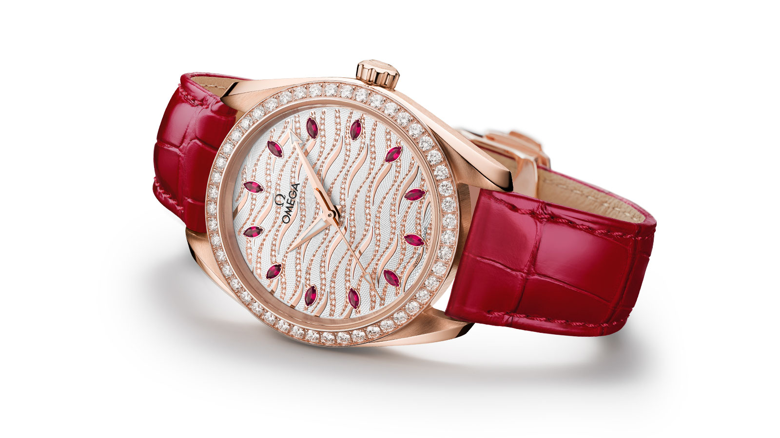 The Seamaster Aqua Terra Jewellery watch in Sedna Gold, mounted with diamonds and rubies