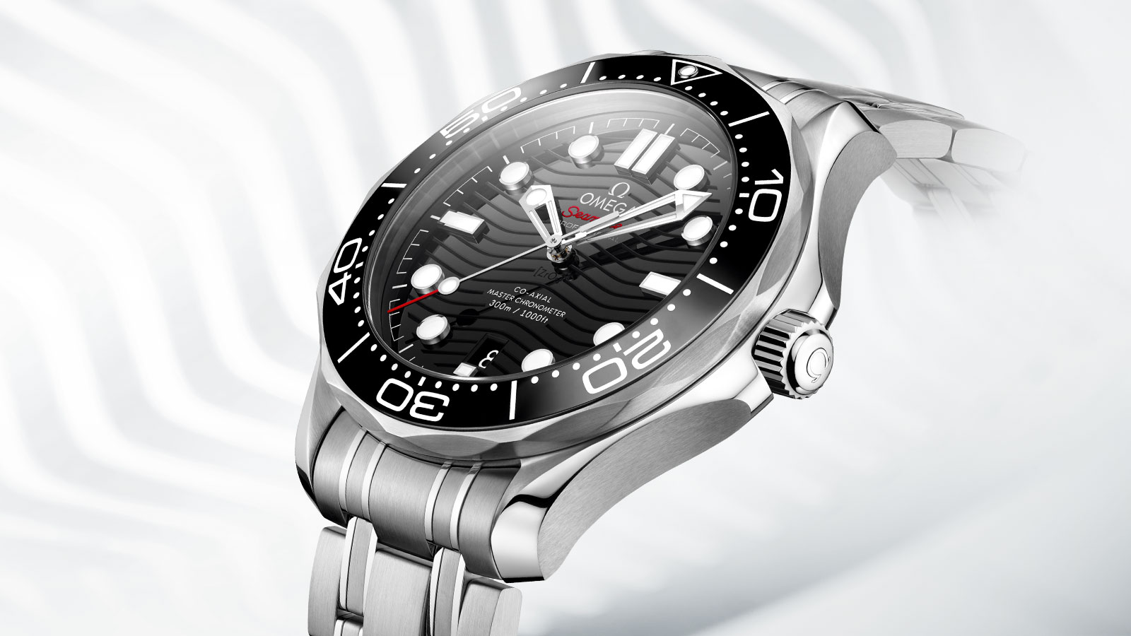 Diver 300m in stainless steel with a black dial and bezel