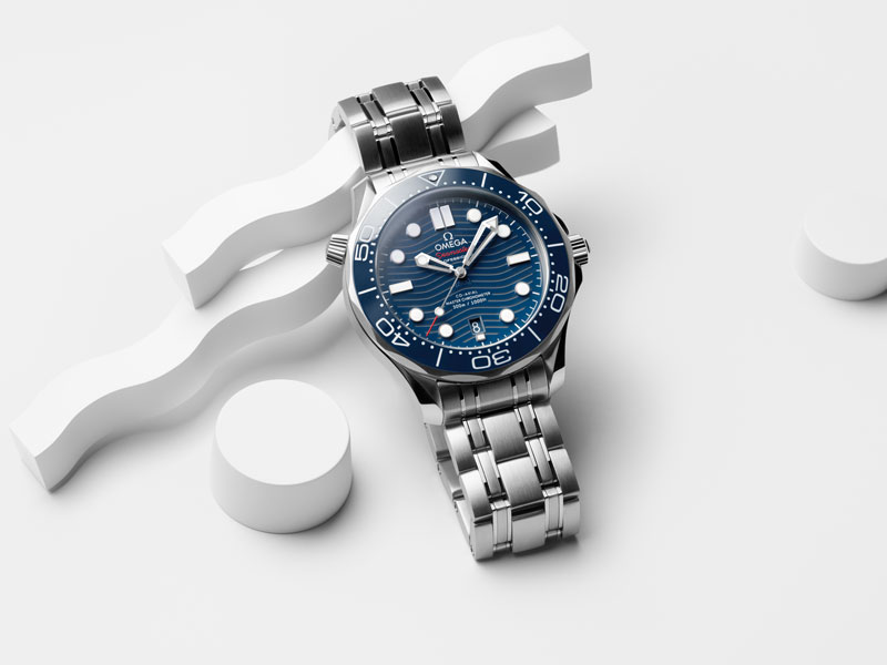 The blue diver 300M ocean on a white background