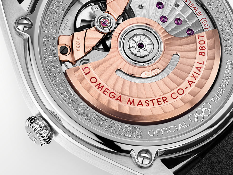 Seamaster Olympic Games Gold Collection caseback with a gold ring and the names of the known host cities