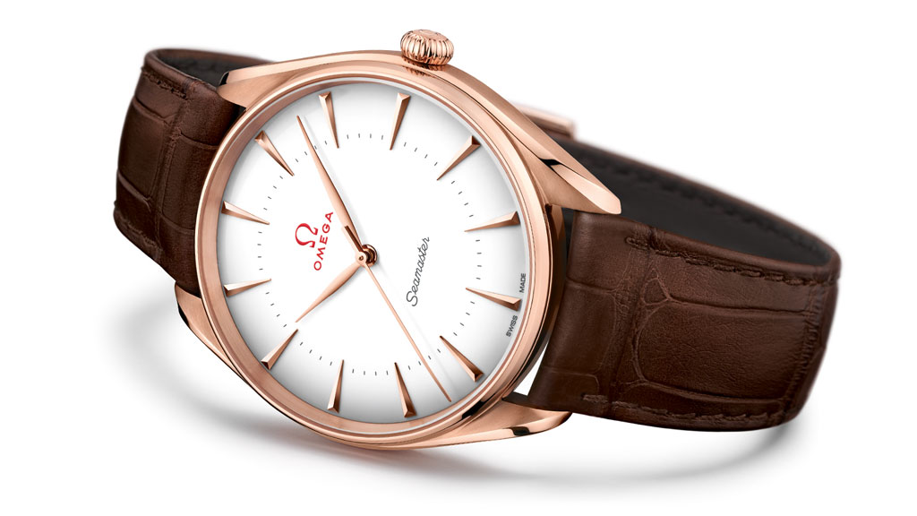 Seamaster Olympic Games Gold Collection with red gold bezel, leather strap and white dial