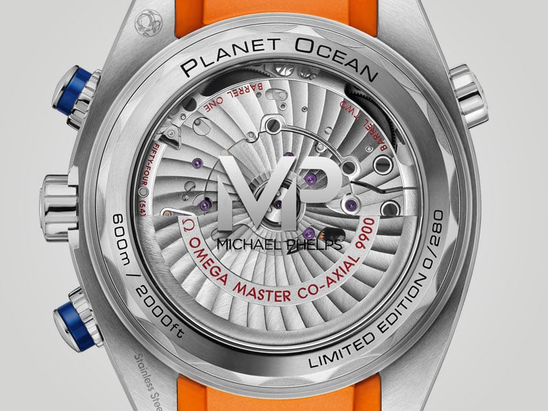 """Reverse side of the watch Seamaster """"Michael Phelps"""" with his initials"""