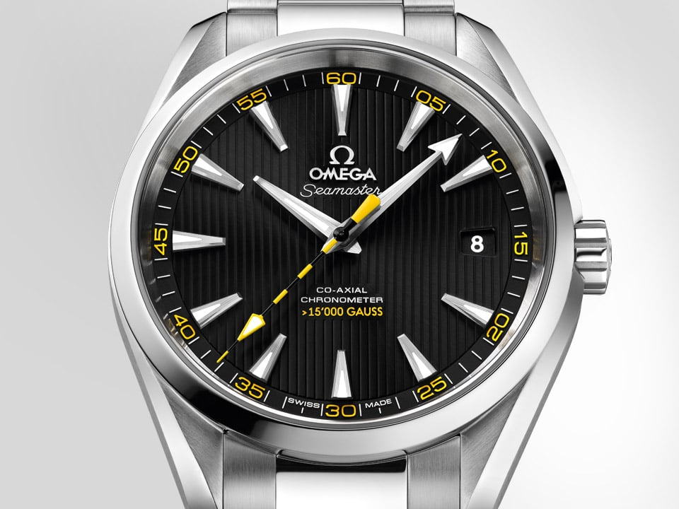 The Seamaster Aqua Terra > 15'000 Gauss and its stainless steel case and band, its black dial and yellow second hand