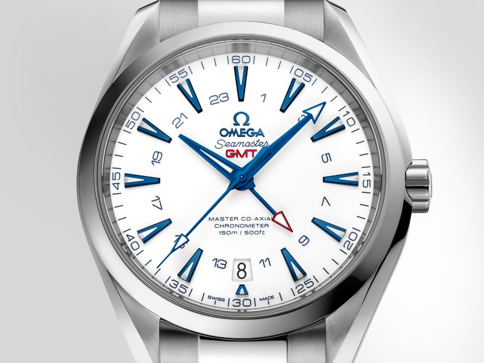 "The Seamaster Aqua Terra ""Goodplanet"" and its stainless steel case, pure white dial and ocean blue hands"