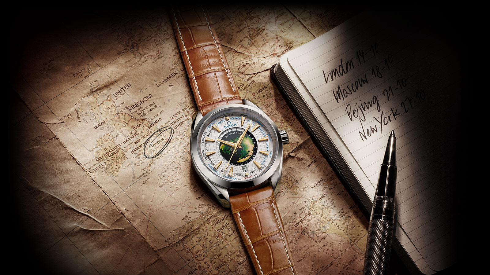 Contextual view of the Worldtimer limited edition watch placed on a map