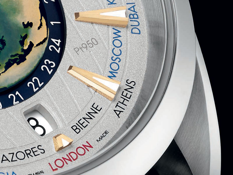 Closeup of the date window and city names on the Worldtimer's dial