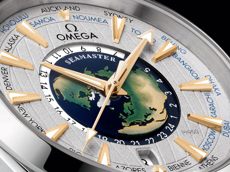 Closeup of the dial of the Worldtimer watch with a handcrafted world map at the center