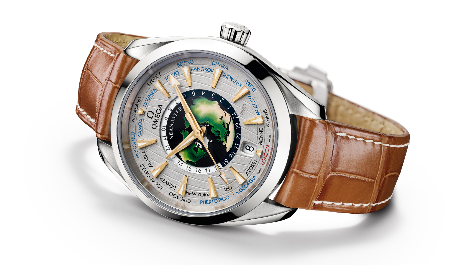 Seamaster Aqua Terra 150M Worldtimer limited edition watch with its disctinctive dial representing earth in the center and brown leather strap