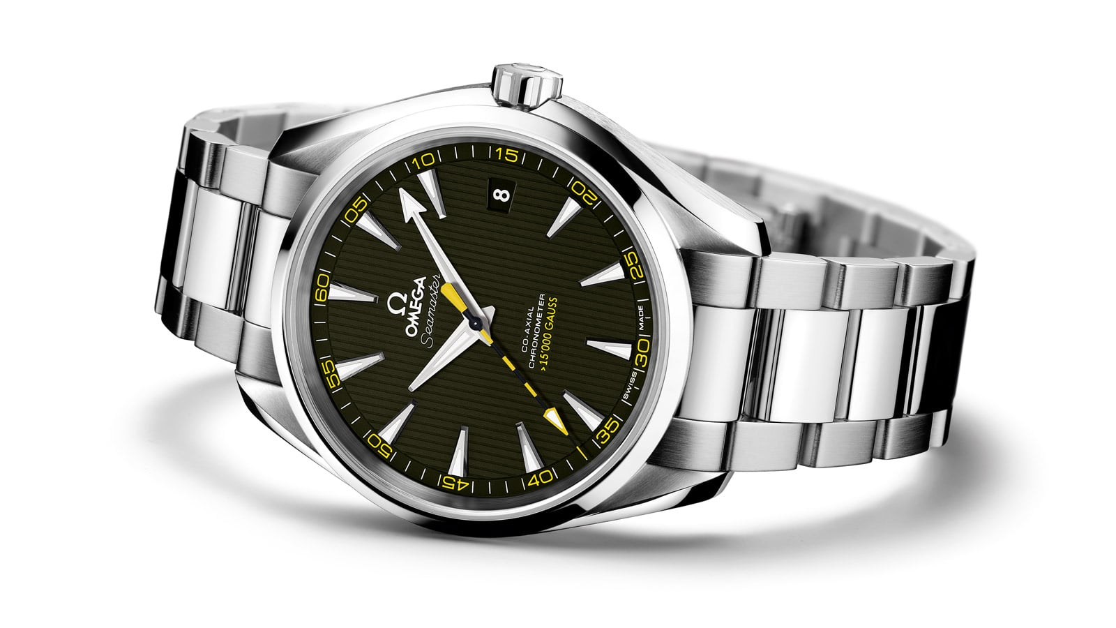 Aqua Terra 15,000 Gauss watch in stainless steel with a black dial and yellow accents