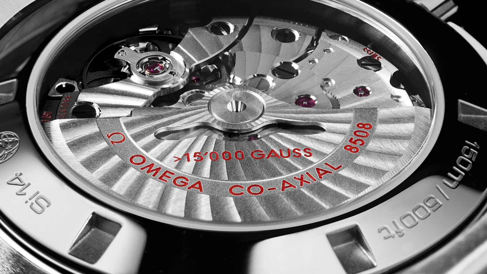 Close up of the co-axial movement that powers the Aqua Terra 15,000 Gauss watches