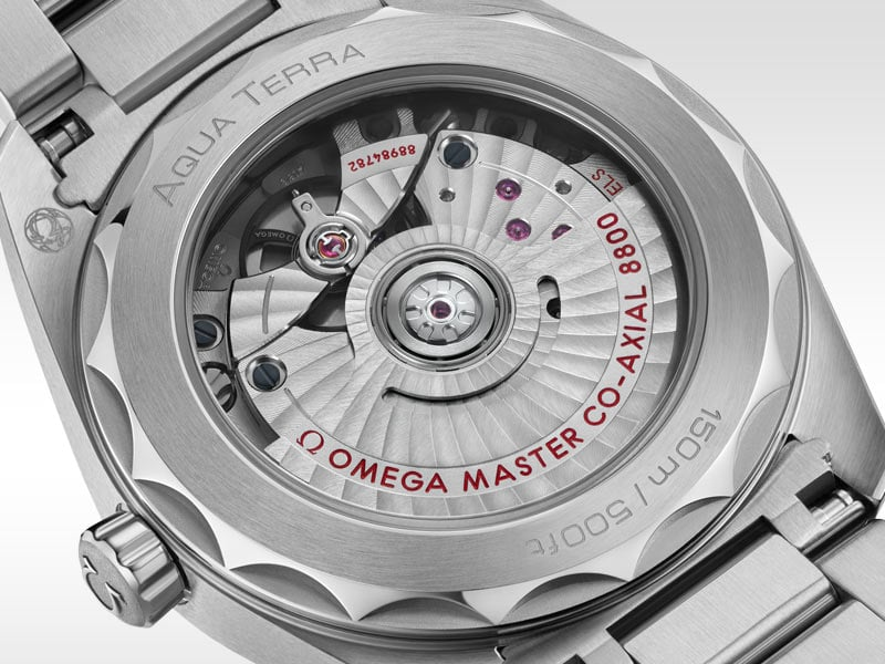 Back view of the Seamaster Aqua Terra Gents' watch, with its sapphire-crystal caseback