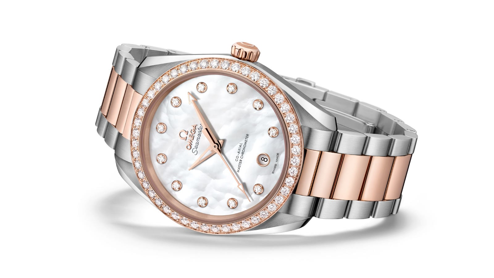 The Aqua Terra Ladies' Collection watch, with its stainless steel and rose gold band, its diamond mounted bezel and its mother-of-pearl dial