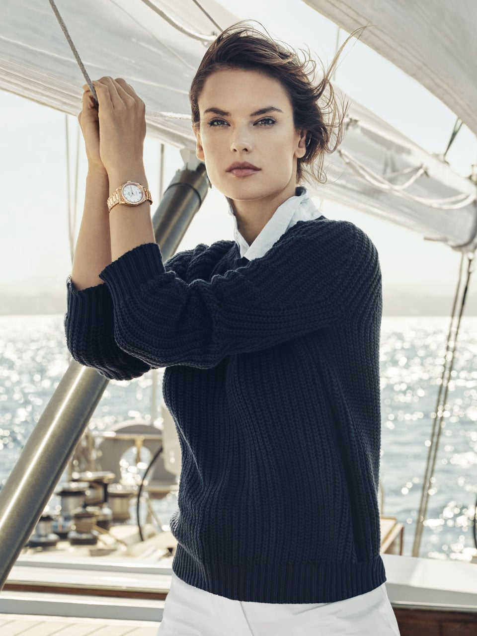 Alessandra Ambrioso standing on the deck of a boat, wearing an Aqua Terra Ladies watch.
