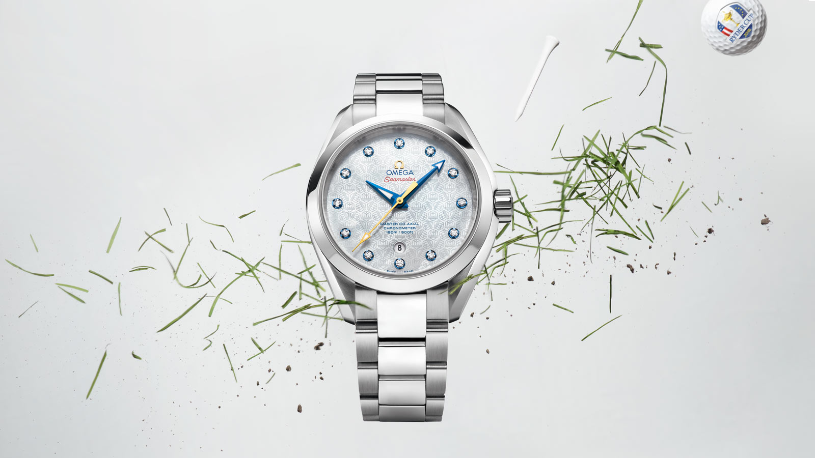 "The Aqua Terra  ""Ryder Cup"" Limited edition with its stainless steel case, the white mother of pearl engraved dial and the deep blue hands"